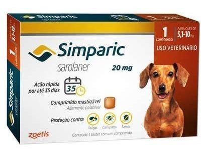 Simparic 20mg Antipulgas (5 A 10kg) 1 Comprimido 04/2020