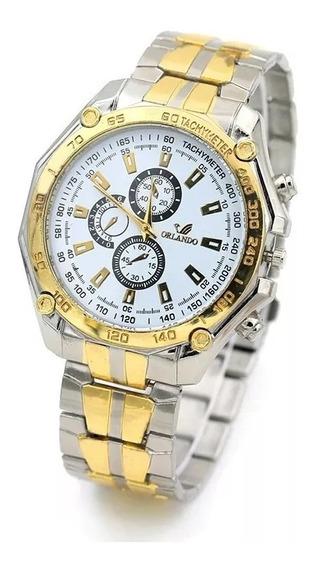 Relógio Masculino Quartz Aço Cromado Dourado M/ Orlando