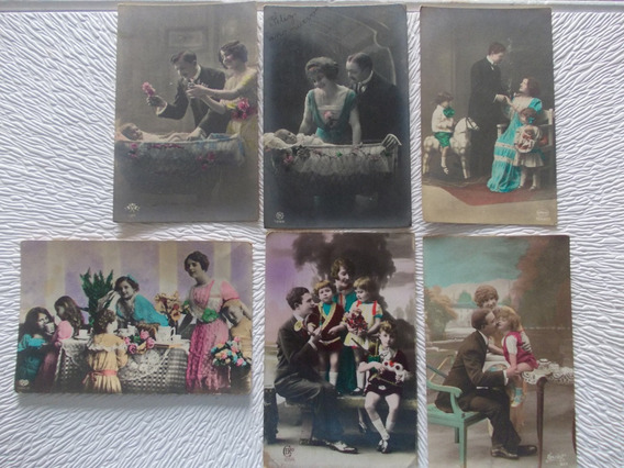 8235- Lote 6 Postales Nacimiento/ Familia Antiguas