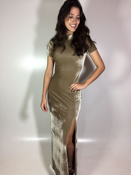 Vestido Longo De Veludo Moda Evangélica, Roupa Feminina