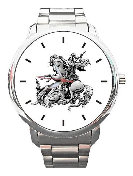 Relógio São Jorge Guerreiro Santo Fé Católico Espirita Relig