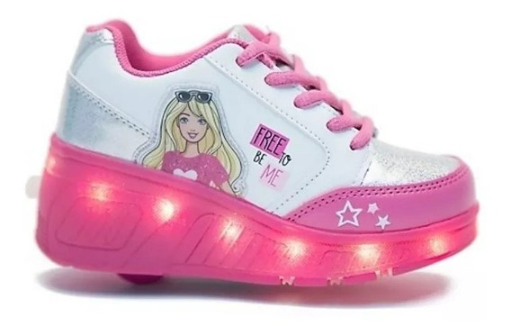 Zapatillas Footy Barbie Con Luces Led Y Ruedas Fty Calzados
