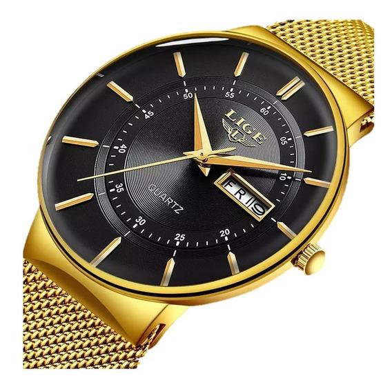 Relógio Masculino Lige Luxo Slim Casual 100% Original Top
