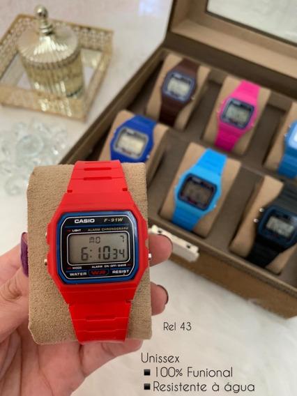 Relógio Casio Vermelho Funcional Bateria Extra