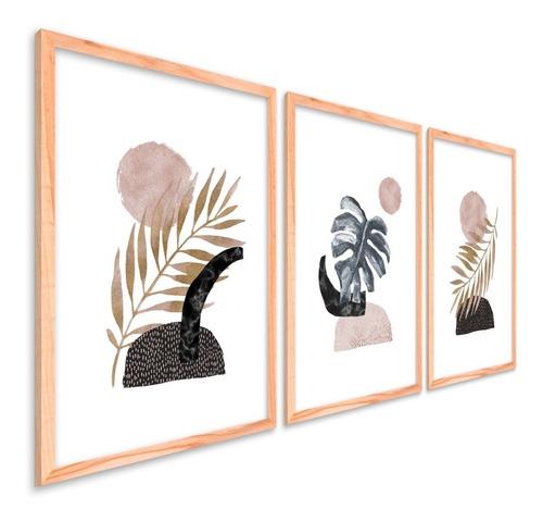 Quadros Decorativos Moldura Quarto Sala Folhas Minimalistas