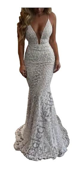 Vestido Noiva, Madrinha, Festa Em Renda Decote Em Tule 035