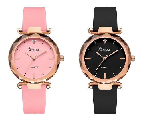 Relógio De Pulso Feminino Redondo Geneva Preto Rosa Pink