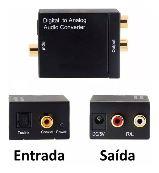 Conversor Optico Saida Digital Tv Toslink Adaptador Som Top