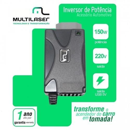 Novo Inversor Potência Veicular Multilaser 150w 110/220v Usb