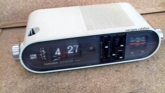Rádio Relógio Flip Palhetas Toshiba Fm Antigo Funcionando