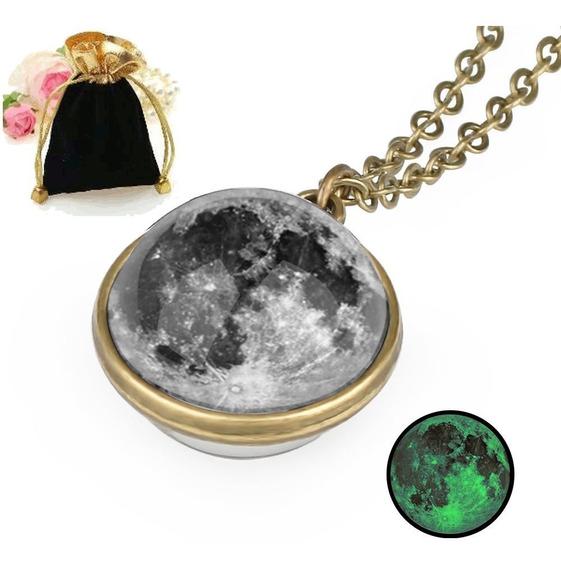 Colar Pingente Brilha Escuro Esfera Lua Cheia + Brinde