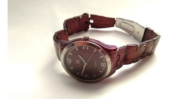 Relógio Masculino Us Polo Assn Pulseira Metal Marrom Quartz