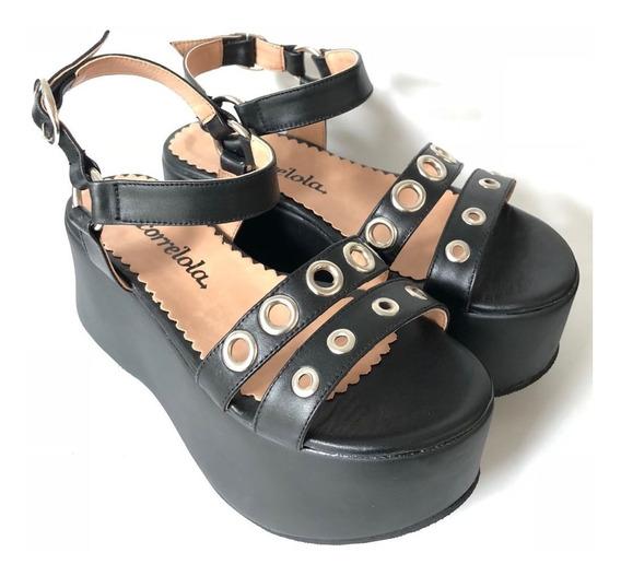 3277 Sandalias Negra Ojal, Zapatoscorrelolastrret De Cuero