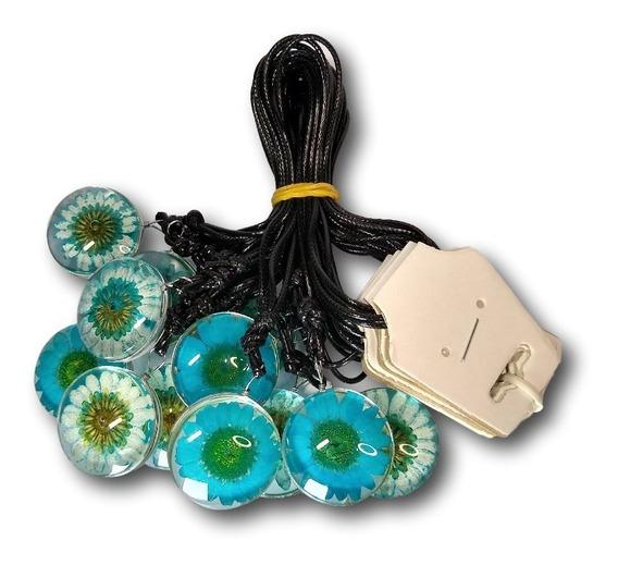 Colar Flor Margarida Azul E Branca Ref: 9499 (dúzia)