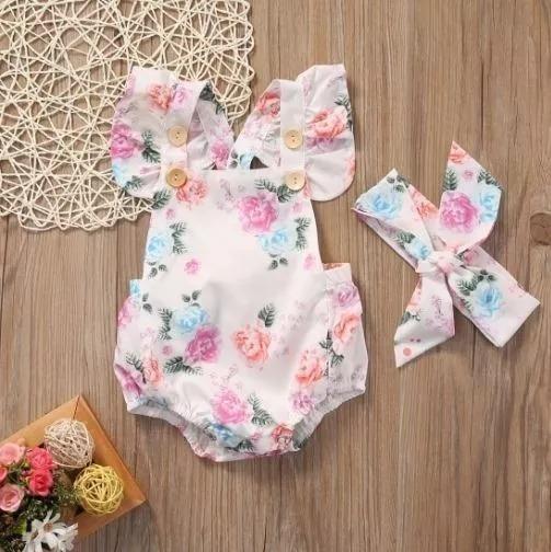 Romper Floral Rosa Kit Body Com Faixa Laço Mesversário Macacão Infantil Bebê Verão