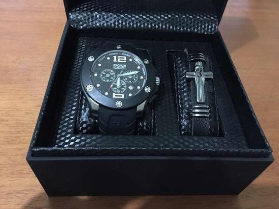 Kit Relógio E Pulseira Magnum