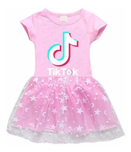Imagen 1 de 3 de Tik Tok - Vestido Para Niña, Diseño De Estrellas