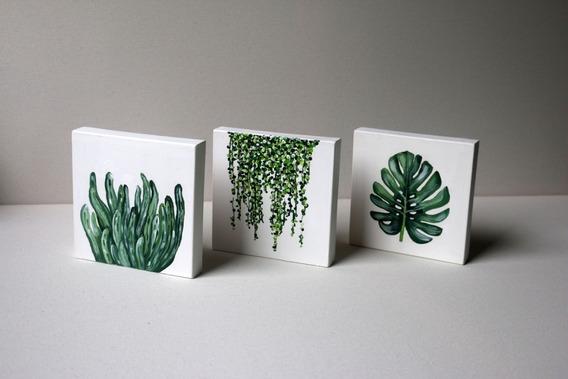 Cuadros Trípticos Decorativos Nórdicos Hojas Plantas Pintado