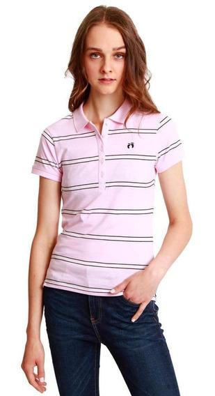 Camisa Polo Rayas Para Mujer Hang Ten Chifón Rosa Claro