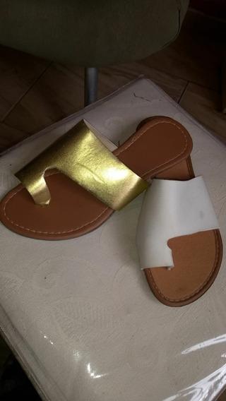 Sandálias Rasteirinhas Dourada E Branca