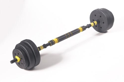 Imagem 1 de 7 de Kit Halteres De Anilhas E Barras Fitness 20kg