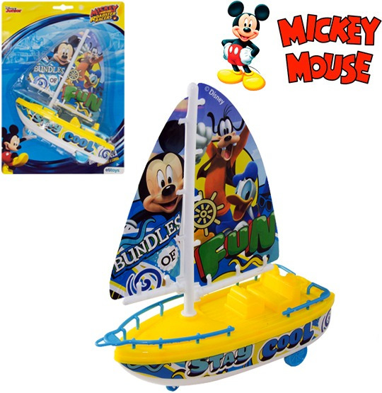 Barco Lancha Brinquedo A Vela Corda Anda Na Aguá Do Mickey