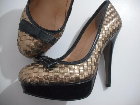 Sapato Meia Pata Dourado 36 Luiza Barcelos Usado Bom Estado