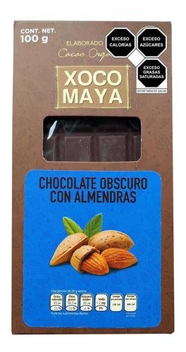 Imagen 1 de 4 de Barra De Chocolate Oscuro Con Almendras Xoco Maya