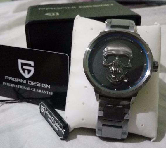 Relógio Masculino Crânio 3d Pulso Caveira Aço A Prova Dágua