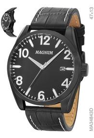 Relógio Magnum Masculino Preto Em Couro Ma34843d
