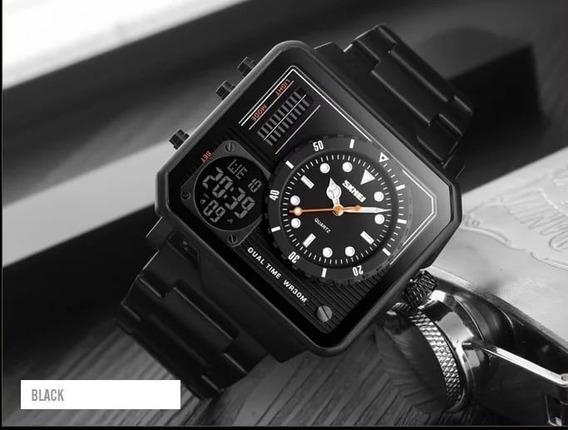 Relógio Quadrado Skmei 1392 Luxo Digital E Quartzo