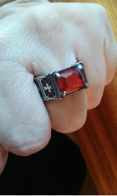 Anel Templário Com Pedra Sintética - Vermelha