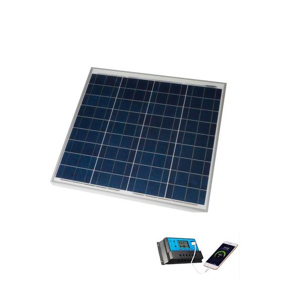 Kit Placa Solar 20w Carga Bateria Cerca Elet Usb Celular 12v