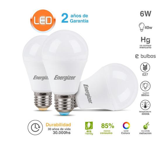 Lampara Led Energizer 6w = 40w 3000k Luz Día Calida Oferta