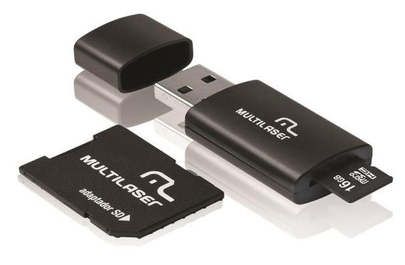 Cartão De Memória 16gb Class 10+com Kit Adaptador Multilaser