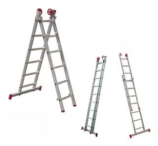 Escada Extensível Alumínio 2 X 6 Degraus 120 Kg Multiuso