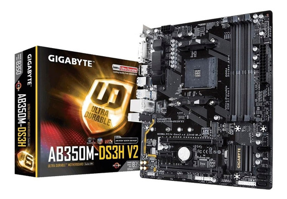 Placa Mãe Gigabyte Ga Ab350m Ds3h V2 Amd Am4 Micro Atx Ddr4 Atualizada Para Os Processadores Ryzen 3000