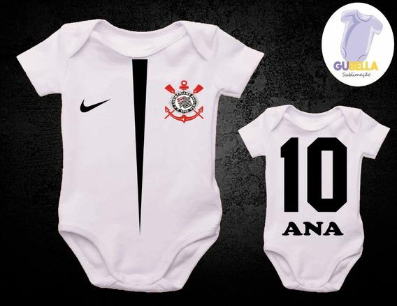 Body Bebe Infantil Camisa Do Corinthians Timão Com O Nome