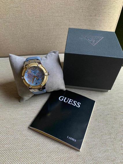 Reloj Guess 100% Original Dorado/azul Metálico Nuevo