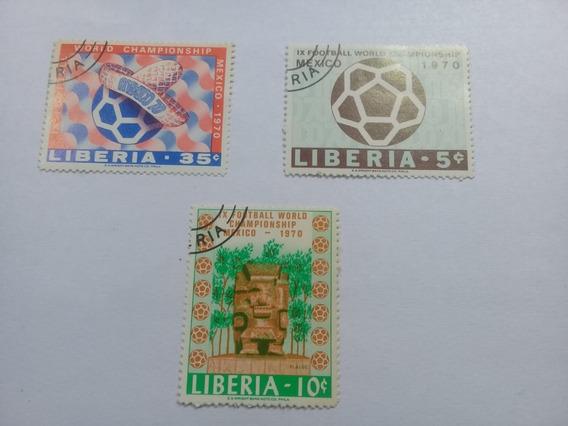 Serie De 3 Estampillas Liberia Mundial Futbol Mexico 70