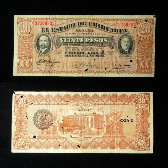 Billete 20 Pesos Estado Chihuahua 1915 Revolucion