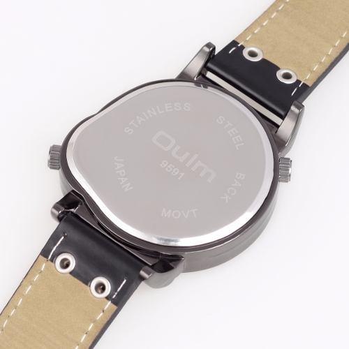 Relógio Masculino Pulso Oulm Com Dois Mostr Analógico Preto