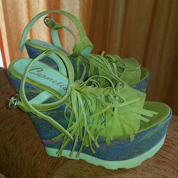 Zapatos Plataforma Y Flecos Super Cancheros