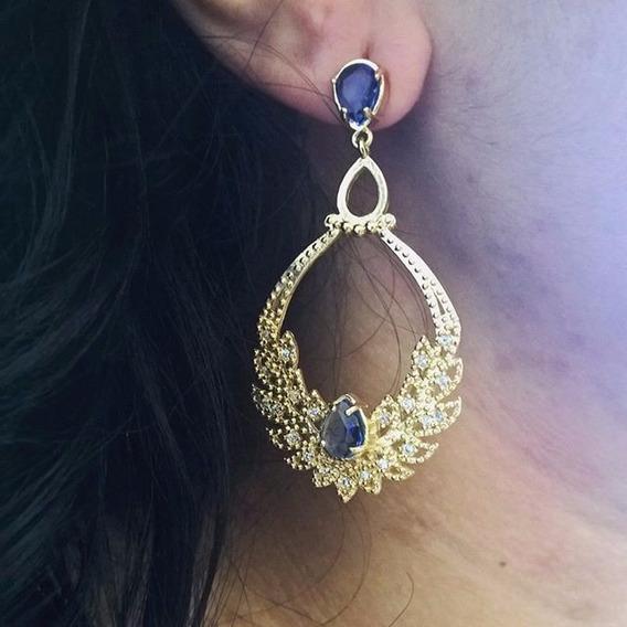 Brinco Grande De Pedra Natural Azul Folheado Em Ouro 18k