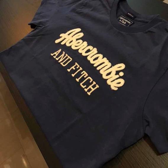 Camiseta Abercrombie Azul Petróleo Estampa Branca Original