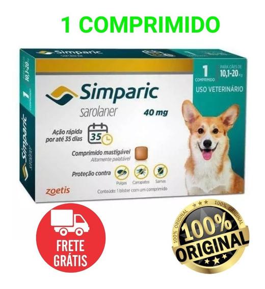 Anti-pulga Simparic 40mg P/ Cães 10,1 A 20kg - 1 Comprimidos