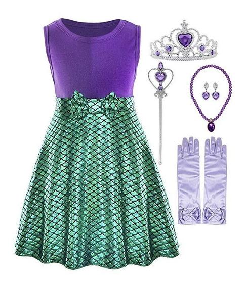 Disfraz De Sirenita Ariel Accesorios Vestido Halloween