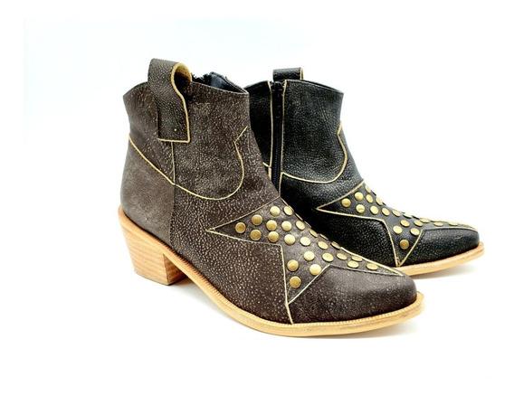 Botineta Bota Corta Texana Cuero Mujer Zapato Kansas/hr