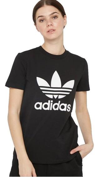 Remera adidas Originals Trefoil Negra/blanca Mujer - Moda