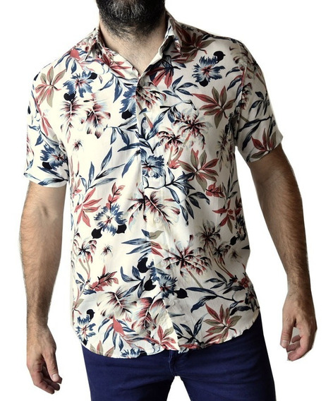 Camisa Manga Corta Hawaiana Floreada Hombre The Big Shop